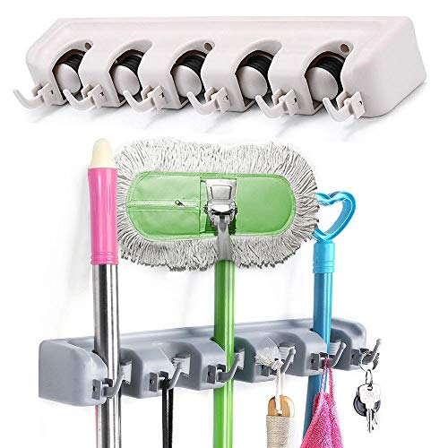 Wall Mount Magic Mop and Broom Holder Plastic Hanger Brush Cleaning Tool Rack US from Unknown