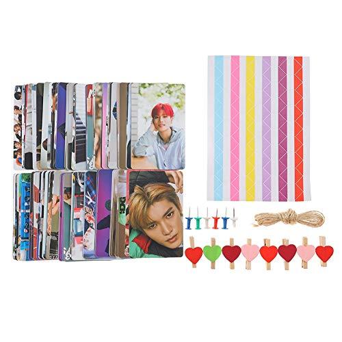 Youyouchard 100PCS Kpop Twice NCT127 IZONE BTS Blackpink Post Cards 3 Inch Photo Lomo Polaroid Photo Send Clip+Hemp Rope+Thumbtack+Corner Stickers(NCT127-2)