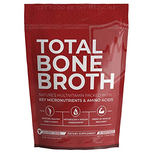 Total Bone Broth, Savory Herb Flavor - Organic and Grass-Fed Beef, Natures All-Natural Multivitamin Packed with Key Micronutrients & Amino Acids - Improves Skin, Joints, Digestion!