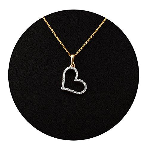 LOVEBLING 14K Yellow Gold 0.10 Carats (ctw) Diamond Heart Pendant (0.72 x 0.44) -
