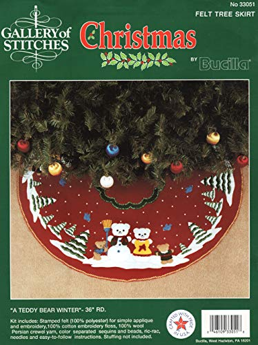 Bucilla Christmas Felt Tree Skirt Applique Kit, A Teddy Bear Winter, 36