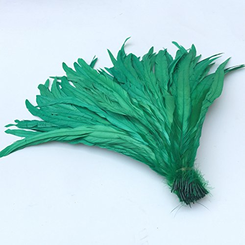 Tail Feather Costume (Shekyeon 13-16inch 33-40cm Rooster Coque Tail Feather for costume decoration pack of 20 (Dark Green))