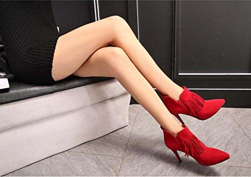 Seude botas color mujeres Zipper zapatos Tassel Martin corto pie botas Eu 32 desnudas Chelsea vestir de tamaño Ol Scarpin botas botas boda puro del botas de 9cm 44 Color dedo zapatos de puntiagudo n6aYYX7