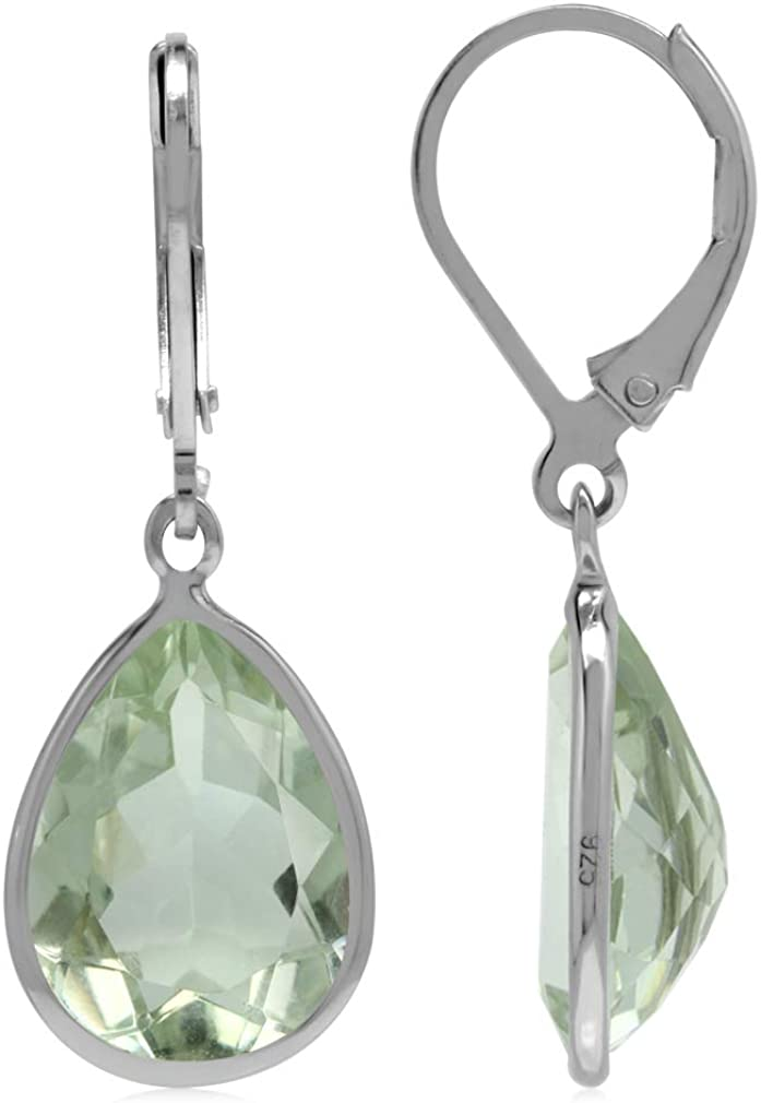 Jade Drop Dangling With 925 Sterling Silver Lever Back Earrings