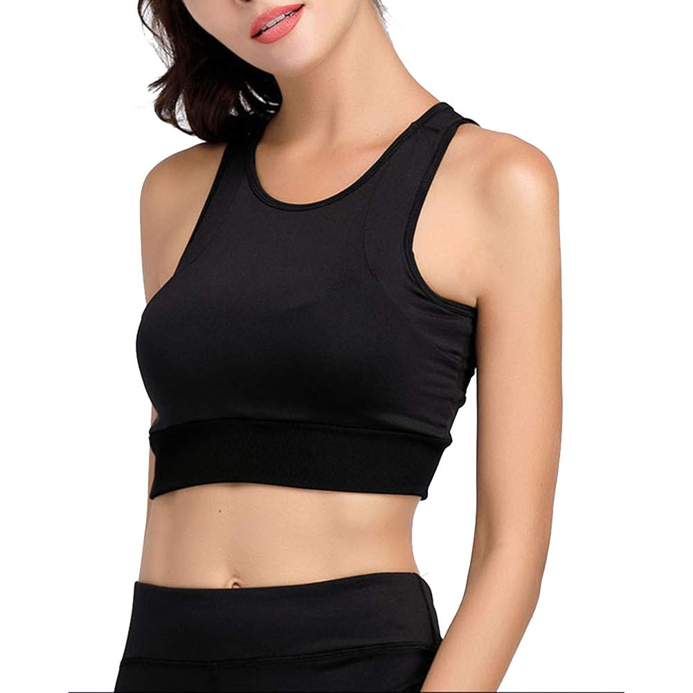 LDHY Sport-BH gepolsterte nahtlose BHs, weiche Sport-BH-Yoga-Laufunterwäsche, schnell trocknend, atmungsaktiv, weibliche Fitness, schwarz, 2er-Pack