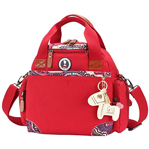 Simple Color Block Women Canvas Shoulder Bag - 8