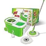 Scotch-Brite Supreme Spin Bucket Mop with Steel Spinner, Wheels, Drag Handle, Drain Plug & Dispenser (2N Microfiber…