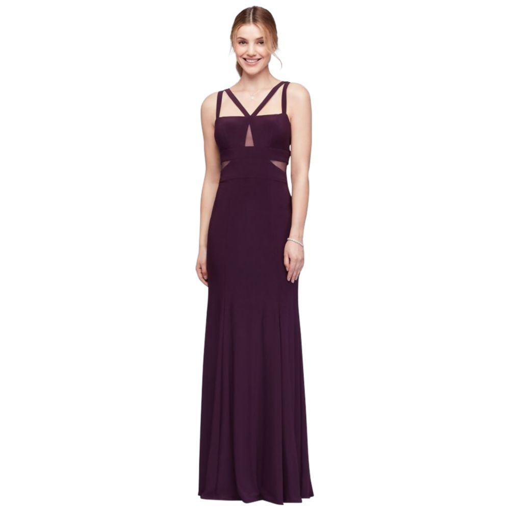 David's Bridal Strappy Matte Jersey Gown with Illusion Cutouts Style XS9314D, Plum, 6 by David's Bridal