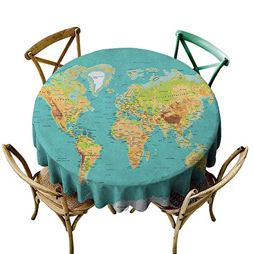 Retro Oilcloth - Sunnyhome Waterproof Table Cover Map Map of The World Geography Continents and Countries Physical Cartography Image Sea Green Apricot Stain Resistant, Washable 43 INCH