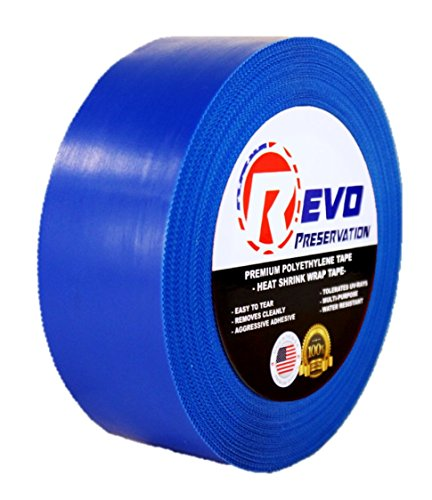 "REVO Preservation Tape / Heat Shrink Wrap Tape (2"" x 60 yards) MADE IN USA (BLUE) Poly Tape - Electrical Tape - Scaffold Wrap Tape (PINKED EDGE) SINGLE ROLL (LIGHT DUTY: 7.5 MIL THICKNESS)"