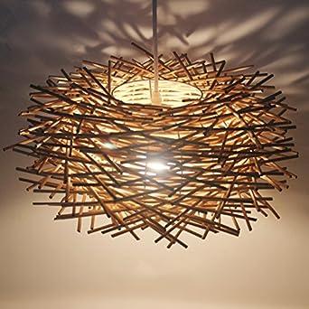 QWER Pendant Deckenleuchte Lampe Rattan Kronleuchter Birds Nest Restaurant Sdostasien Wohnzimmer Idyllische Holz