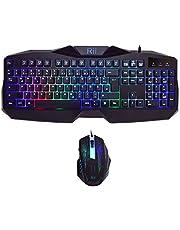 Rii RK400 Gaming Tastatur und Maus Set, LED Hintergrundbeleuchtung QWERTZ (DE-Layout), Regenbogen Farben Beleuchtete USB Wasserdicht Tastatur und Maus mit 2400 DPI für Pro PC Gamer