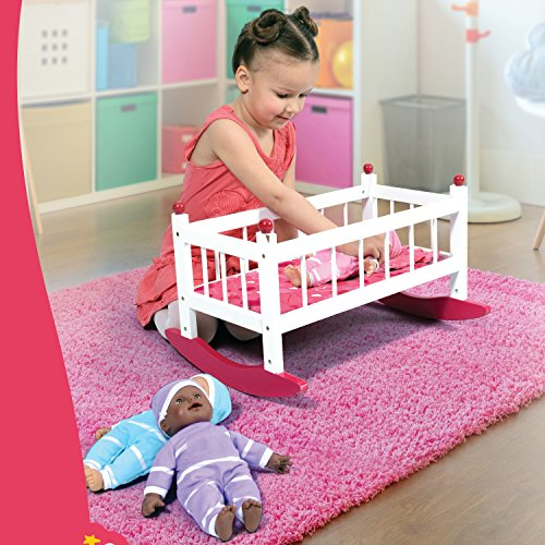 - Wooden Baby Doll Rocking Cradle - Fits Baby Dolls and 18 Inch Dolls - Includes Mattress & Bedding