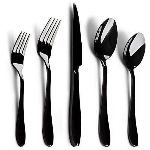 Silverware Set, E-far 20-Piece Black Stainless Steel Flatware Utensil Set, Include Knife/Spoon/Fork, Mirror Polished, Dishwasher Safe - Service for 4