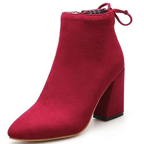DecoStain Women's Sexy Pointed Toe Classic Ankle Boots Side Zipper Dress Simple Block High Heels Faux Suede Booties Shoes Red m6TaW3n