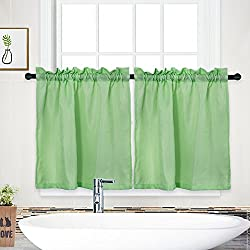 """NANAN Curtain Valance,Waffle Weave Water Repellent Window Valance for Bathroom,Tailored Kitchen Valance Curtain Cafe Curtains - 60"""" x 15"""", White, One Pane"""
