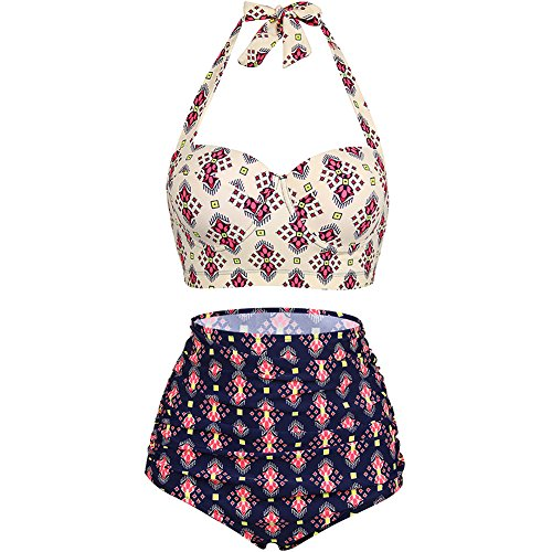 Lover Beauty Womens Waisted Halter Swimsuits