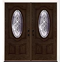 Lakewood Brass 3/4 Oval Lite Stained Walnut Oak Fiberglass Entry Door with Sidelites & Amazon.com: Feather River Doors pezcame.com