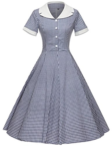 GownTown Women's 1950s Vintage Cap Sleeve Plaid Swing Dress with Pockets -