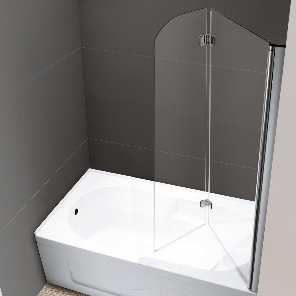 Mellewell Fold 36 In Width Frameless Hinged Tub Shower Door Swing