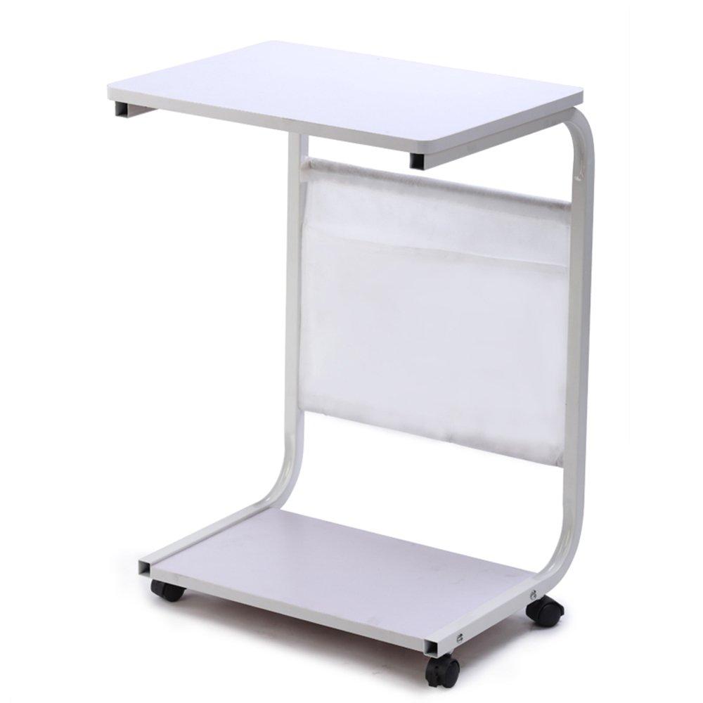 XIAOLIN コーナーテーブル小さなコーヒーテーブルソファサイドテーブルを移動する近代的なミニマルスモールスクエアベッドサイドテーブルシンプルでおしゃれなモバイル便利な2つの色 (色 : 白) B07F3FFWP8白