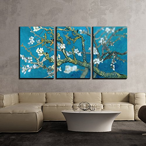 wall26 3 Piece Canvas Wall Art - Van Gogh's Masterpiece Almond Blossoms Retouched - Modern Home Decor Stretched and Framed Ready to Hang - 16