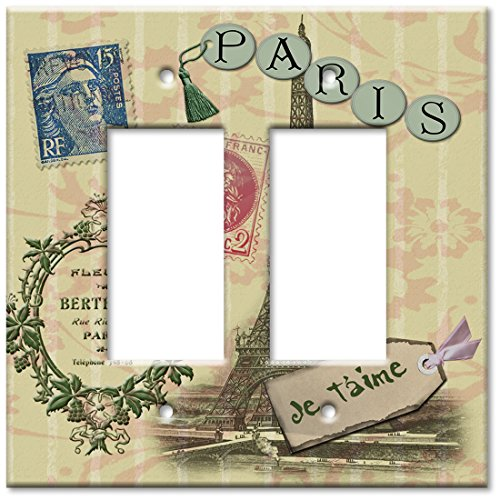 Art Plates - Double Gang Rocker OVERSIZE Switch Plate - Paris Je T'aime