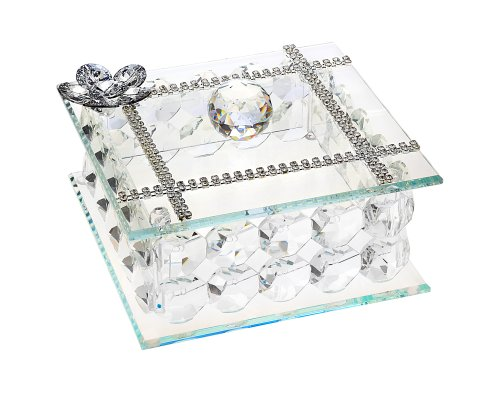 Italian Crystal and Silver Jewelry Box Made of Authentic Swarovski Crystal