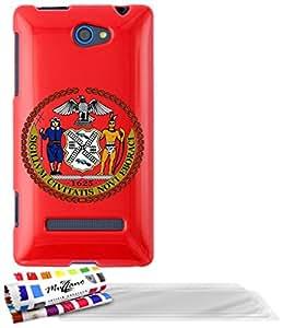"""Carcasa Flexible Ultra-Slim HTC 8S de exclusivo motivo [Escudo New York] [Roja] de MUZZANO  + 3 Pelliculas de Pantalla """"UltraClear"""" + ESTILETE y PAÑO MUZZANO REGALADOS - La Protección Antigolpes ULTIMA, ELEGANTE Y DURADERA para su HTC 8S"""