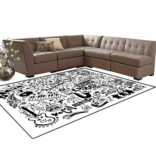 Doodle Door Mats for Inside Music Collection with an Abstract Drawing Rock Jazz Blues Metal Classic Dancing Bath Mat 5'x6' Black - Metal Rock Amps