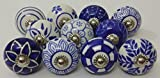 blue and white kitchen 10 Blue and White Hand Painted Ceramic Knobs Cabinet Knobs Kitchen Cabinet Drawer Pull handles By Zoya's lot of 10 knobs
