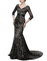 YSMei Women's Long Mermaid Evening Dress Sequins 3/4 Sleeve Formal Gown V YSQ102