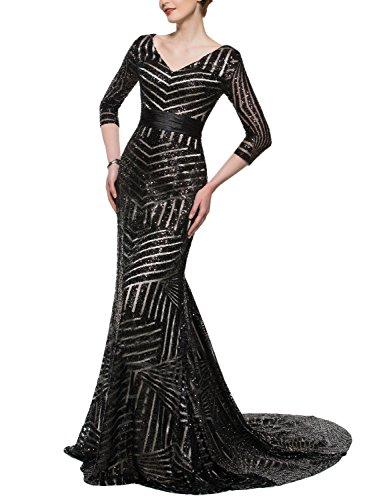 YSMei Women's Long Mermaid Sequins Evening Celebrity Dress V Neck 3/4 Sleeve Formal Prom Gown Train Black 8