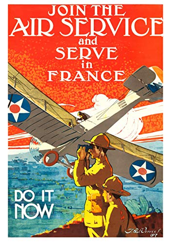 UpCrafts Design WW1 Propaganda Poster Replica - WWI US Aviation Air Service Recruiting Recruitment Aviator Airplane Aircraft Pilot - Memorabilia Decor (11.7x16.5 inches (A3 Size), Unframed Prints)