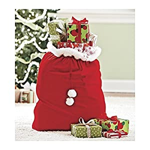Velvet santa 39 s gift sack with cord drawstring for Amazon decoracion navidad
