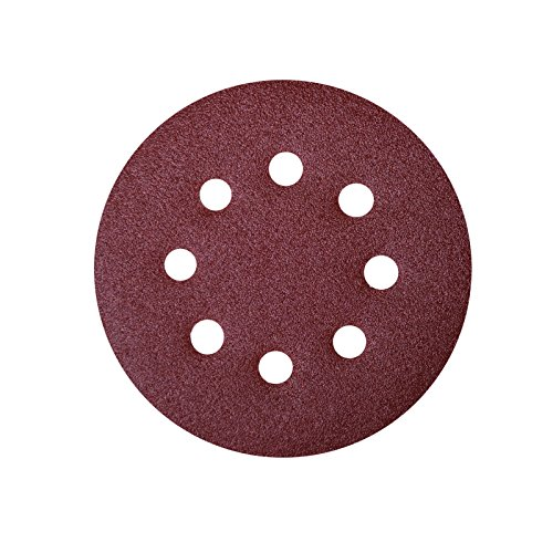 POWERTEC 45004 A/O Hook and Loop 8 Hole Disc, 5-Inch, 40 Grit, 25 PK