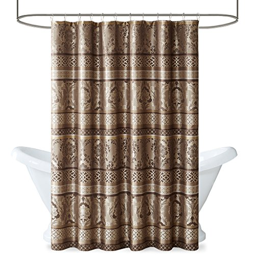 - Madison Park Bellagio Taupe Shower Curtain, Transitional Shower Curtains for Bathroom, 72 X 72, Beige