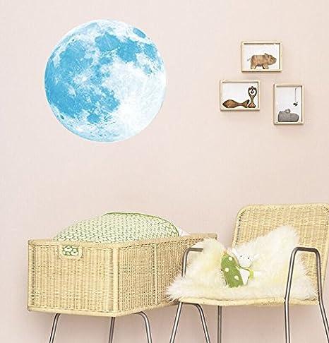 Heligen pared pegatinas brilla en la oscuridad luna extraíble ...