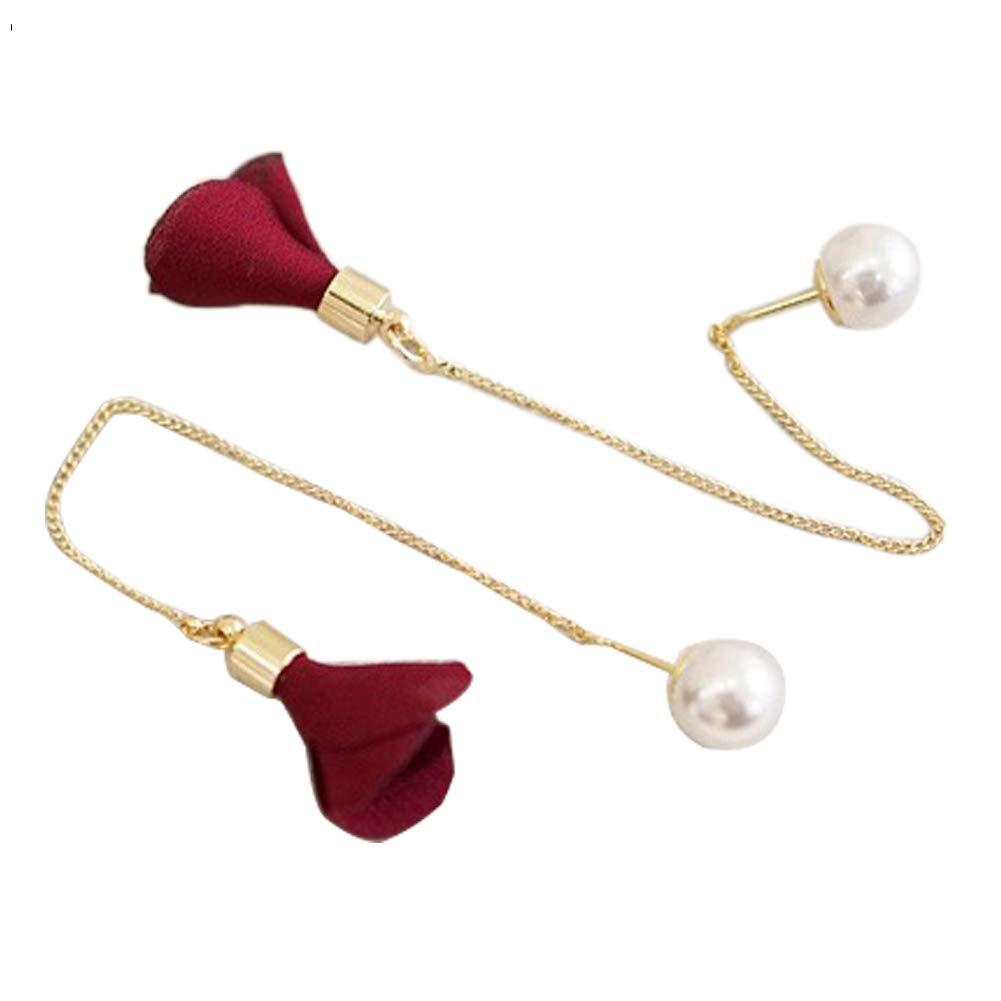 Women Long Chain Dangle Earrings Flower Drop Faux Pearl Earings Jewelry Gift - Wine Red SoundsBeauty