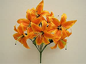Amazon phoenix silk orange jumbo tiger lily 7 artificial silk phoenix silk orange jumbo tiger lily 7 artificial silk flowers bush 21quot bouquet 8303or mightylinksfo