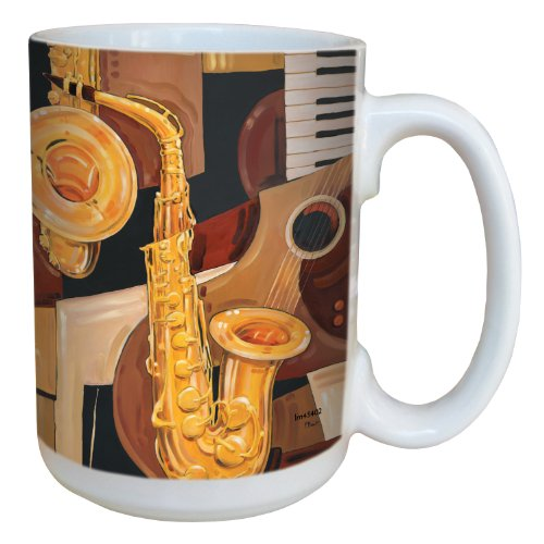 Tree-Free Greetings lm43402 Cool Abstract Saxophone by Paul Brent Ceramic Mug with Full-Sized Handle, 15-Ounce