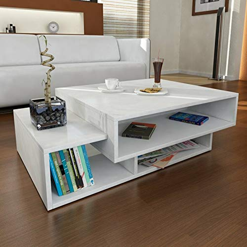 Heera Moti Corporation Magnet Coffee Table/Sofa Table/Center Table for Living Room (Finish :-White pre-Laminated Matt)
