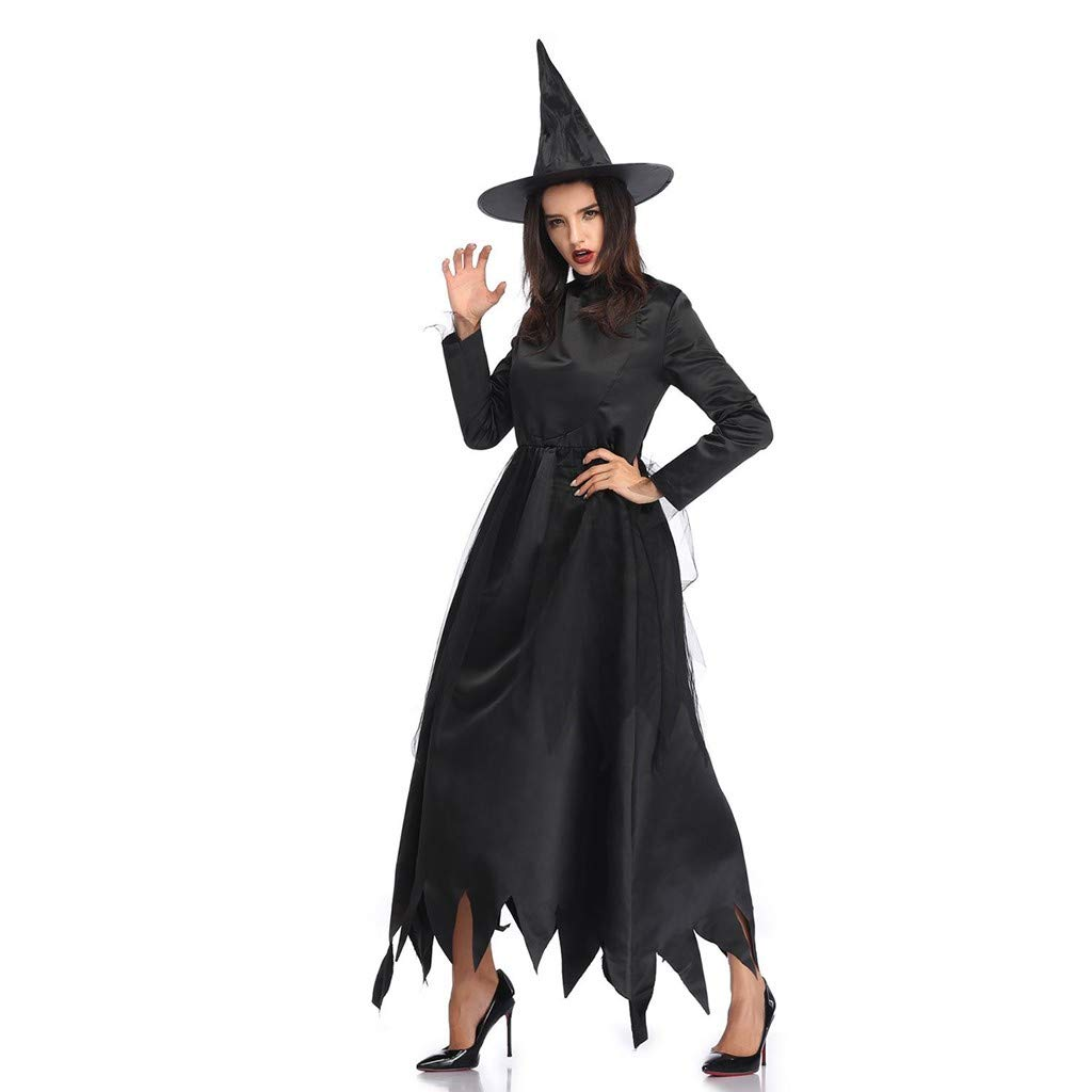 Onegirl Women Vintage Gothic Festival Long Dress and Hat Halloween Cosplay Black Witch Costume by Onegirl-dress