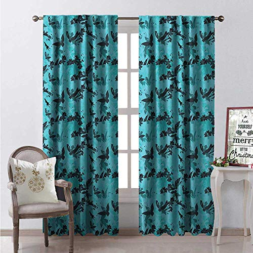 Hengshu Calla Lily Blackout Window Curtain Artistic Arrangement Arabis and Lilies in Blue Shades Abstract Customized Curtains W72 x L84 Sky Blue and Dark - Windows Nouveau Window Lily
