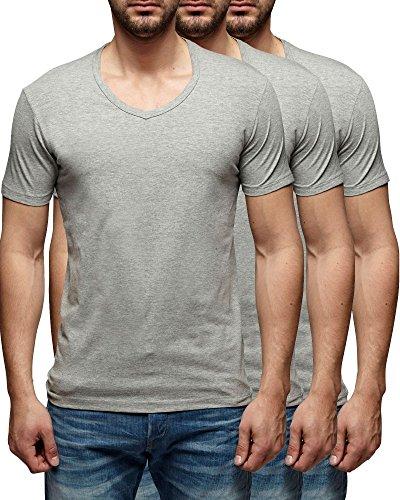 3er Pack Jack & Jones V-Neck Basic T-Shirt Weiß Schwarz Grau Blau