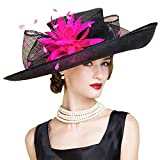 FADVES Large Brim Sinamay Hat Elegant Flower Feather Kentucky Derby Wedding Fascinator Summer Hats Fuchsia