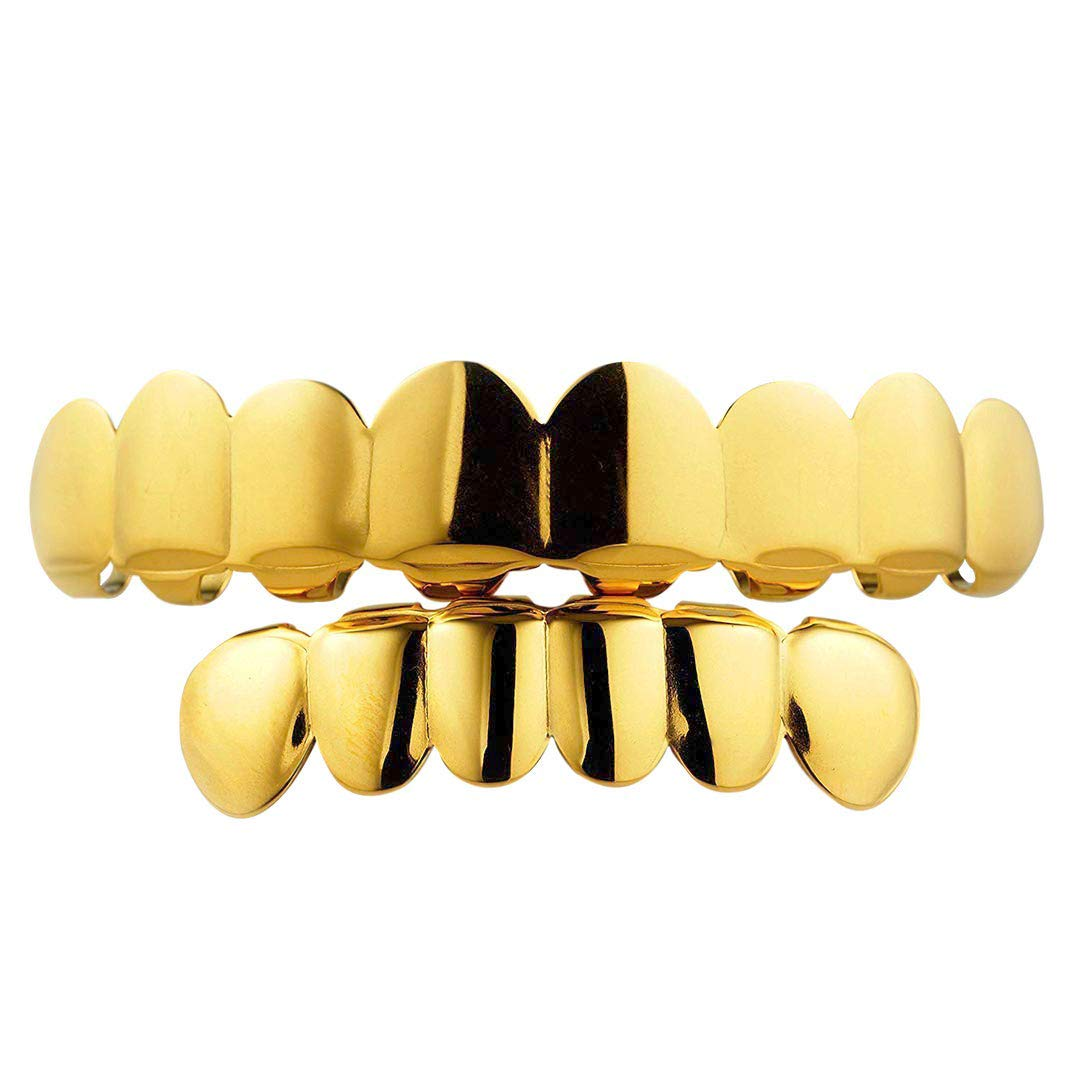 NIV'S BLING - 18K Gold Plated Stainless Steel Grillz - 8 Tooth Gold Teeth Hip Hop Dental Grill - 8 Top, 6 Bottom Set by NIV'S BLING