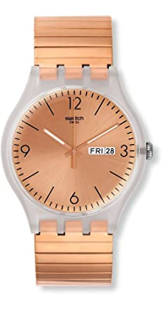 Swatch Originals Rostfrei Rose Gold Dial Stainless Steel Unisex Watch SUOK707B