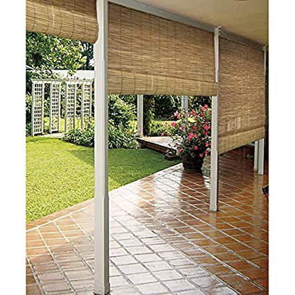 Amazoncom Reed Natural Outdoor Shades Sunshade Bamboo Roller Roll - Roll out patio flooring