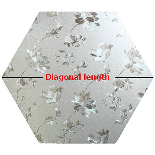 Precut Floral Glass Privacy Hexagon Window Film, Self Static Adhesive Cling, 21 inches diagonal